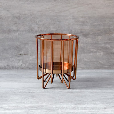 Morpheus Rose Gold Hurricane Candle Holder - Small - Home Artisan