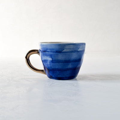 Adelina Blue Gradient Ceramic Cup with Golden Handle - Home Artisan
