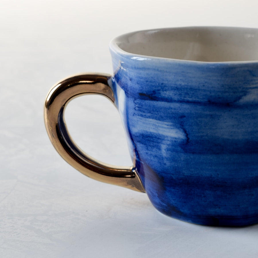 Adelina Blue Gradient Ceramic Cup with Golden Handle