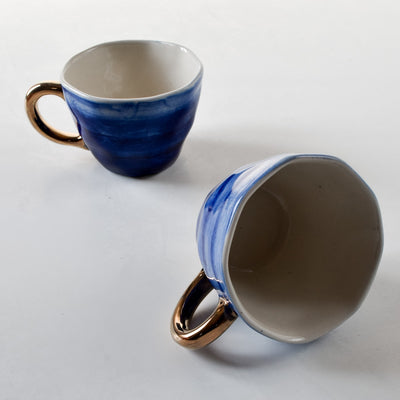 Adelina Blue Gradient Ceramic Cup with Golden Handle - Home Artisan_4