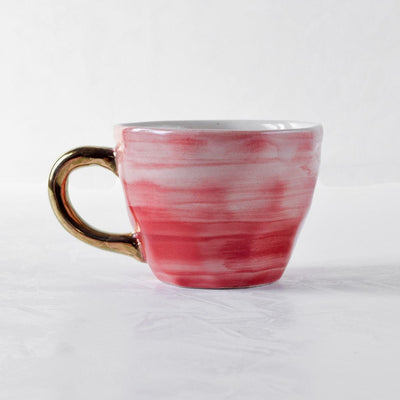 Adelina Red Gradient Ceramic Cup with Golden Handle - Home Artisan