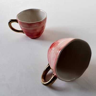 Adelina Red Gradient Ceramic Cup with Golden Handle - Home Artisan_4