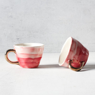 Adelina Red Gradient Ceramic Cup with Golden Handle - Home Artisan_1