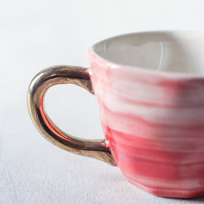 Adelina Red Gradient Ceramic Cup with Golden Handle - Home Artisan_2