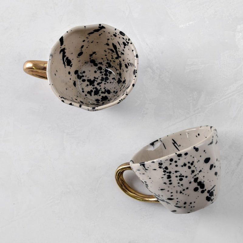 Dalmatian Ceramic Cup with Golden Handle - Home Artisan_1