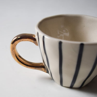 Iris Black Vertical Striped Ceramic Cup with Golden Handle