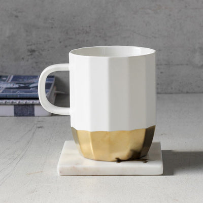 Ivory and Gold Ceramic Mug