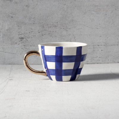 William Check Handmade Ceramic Cup with Golden Handle