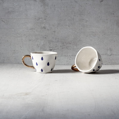 Liam Raindrop Handmade Ceramic Cup with Golden Handle