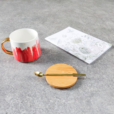 Jacob Red Ceramic Cup with Golden Handle - Home Artisan