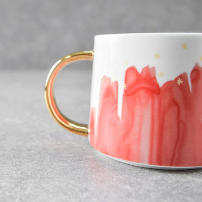 Jacob Red Ceramic Cup with Golden Handle