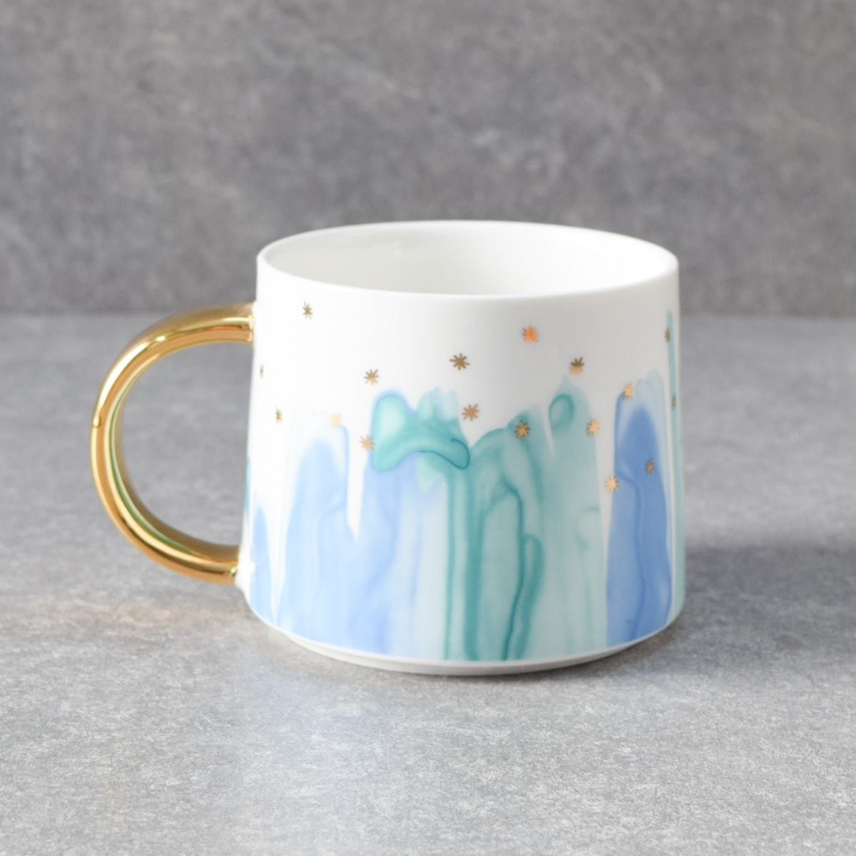 Jacob Blue and Green Ceramic Cup with Golden Handle