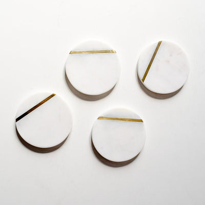 Duncan Marble and Brass Line Coasters - Set of 4 - Home Artisan