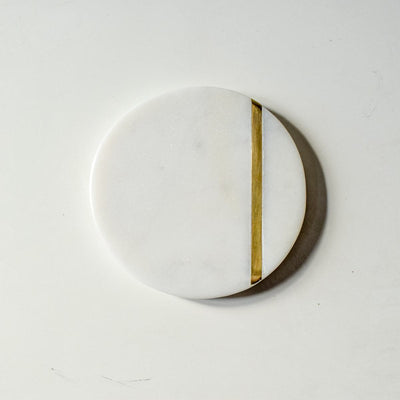 Duncan Marble and Brass Line Coasters - Set of 4