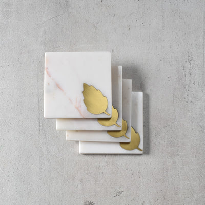 Dorris Marble and Brass Leaf Coasters (Set of 4)