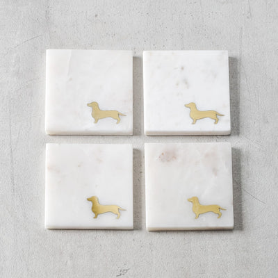 Felix Marble and Brass Dachshund Coasters (Set of 4)