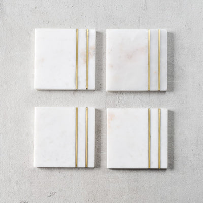 Percival Marble and Brass Stripe Coasters (Set of 4)