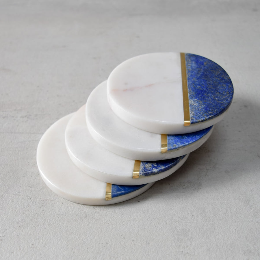Selena Lapis and Marble Coasters - Set of 4