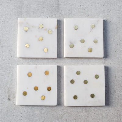 Rutherford Marble and Brass Polka Dot Coasters (Set of 4)