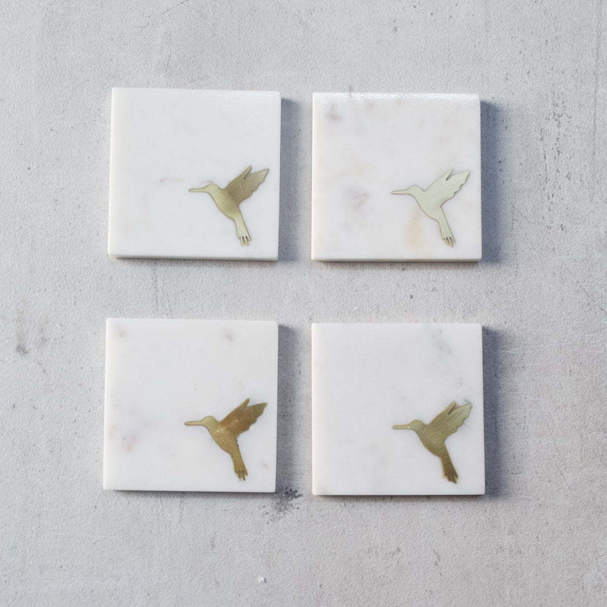 Casey Marble and Brass Humming Bird Coasters (Set of 4)