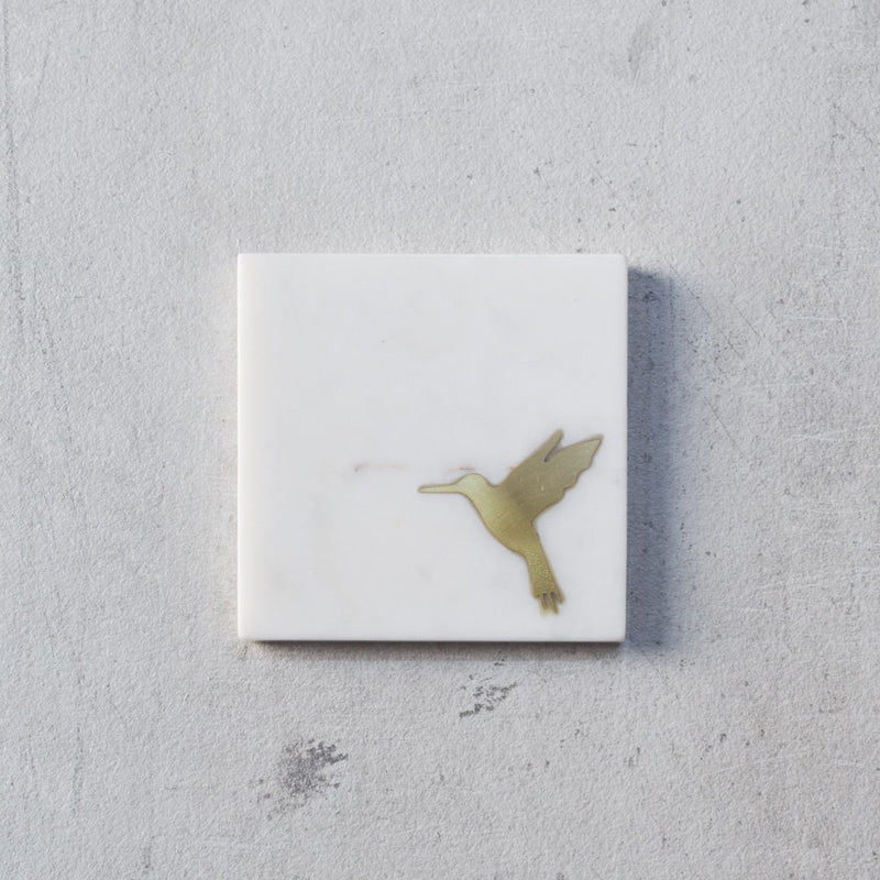 Casey Marble and Brass Humming Bird Coasters - Set of 4