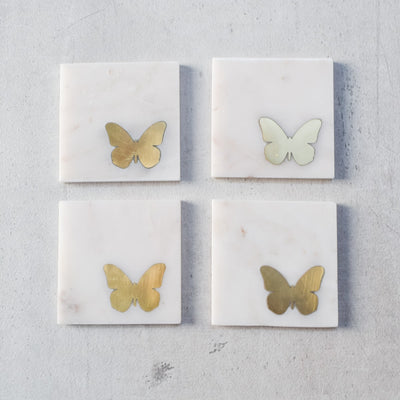 Kiara Marble and Brass Butterfly Coasters (Set of 4)
