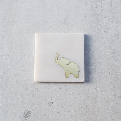 Ollie Marble and Brass Elephant Coasters (Set of 4)