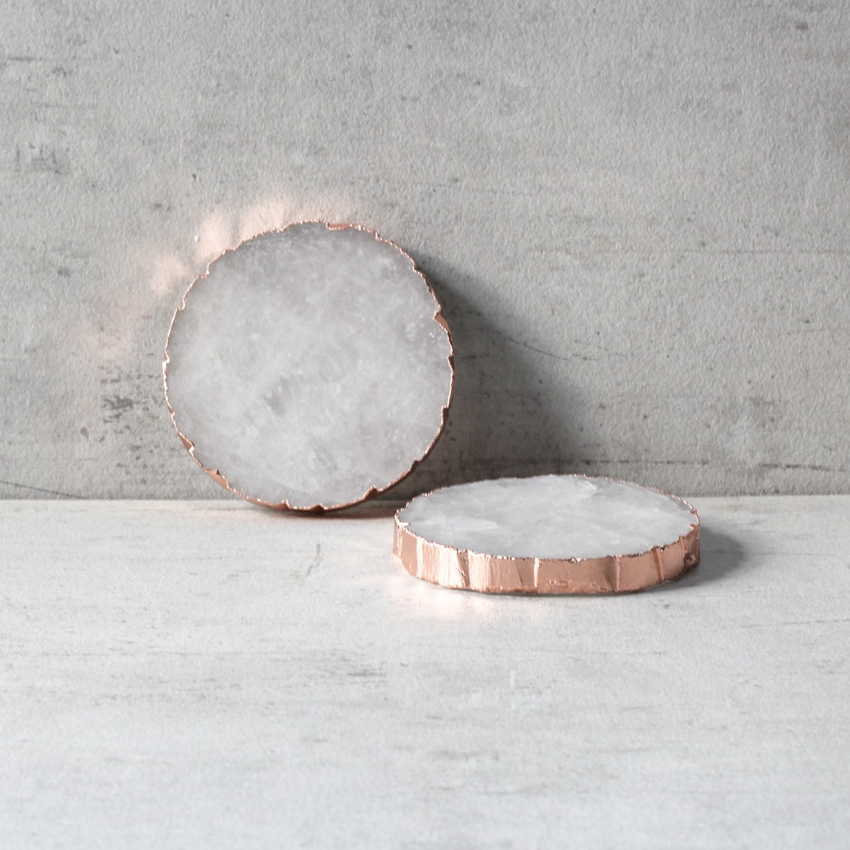 Crystal Quartz Coaster with Rose Gold Edging (Set of 2)