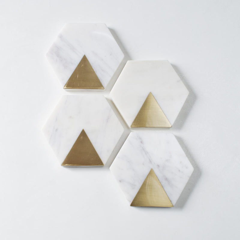 Sirocco Hexagon Marble and Brass Coasters (Set of 4)
