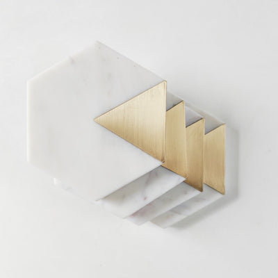 Sirocco Hexagon Marble and Brass Coasters - Set of 4