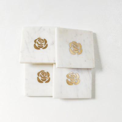 Rosa Marble and Brass Coasters - Set of 4