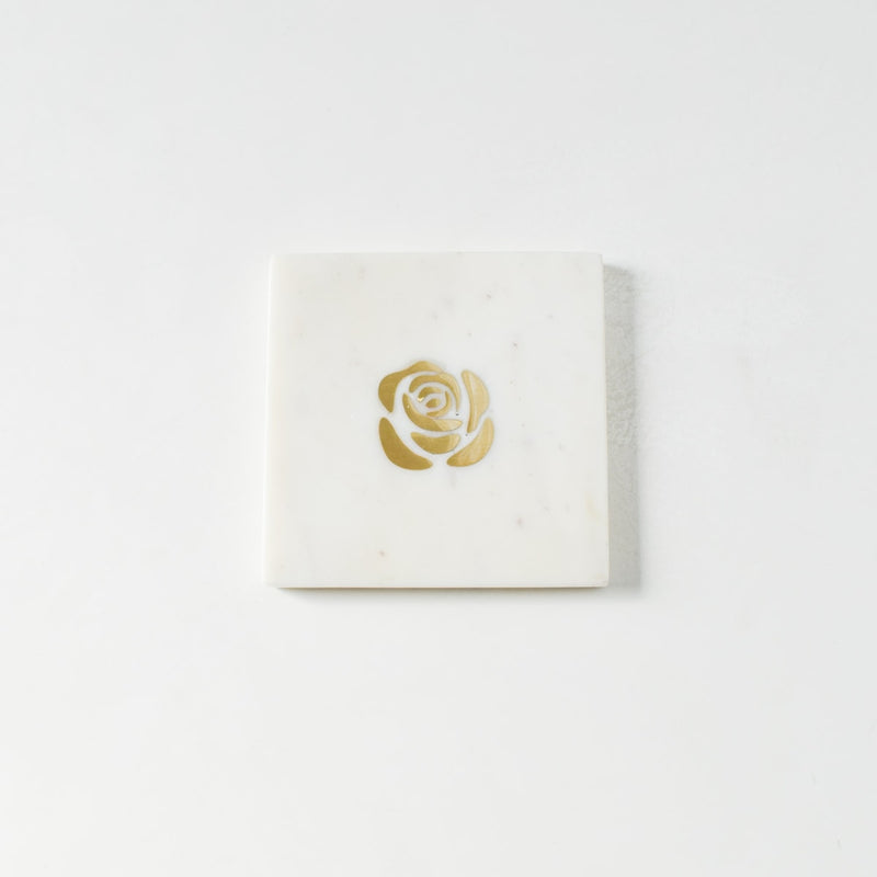 Rosa Marble and Brass Coasters (Set of 4)