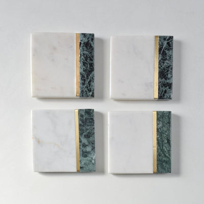 Machaan Green and White Marble Coasters (Set of 4) - Home Artisan