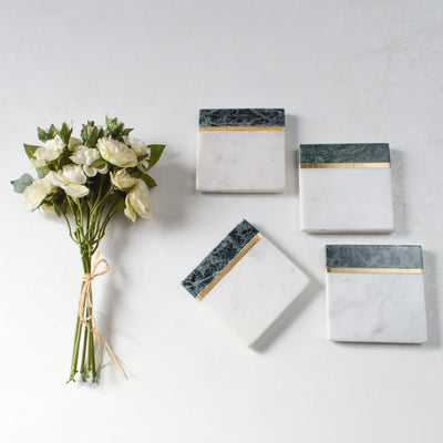 Machaan Green and White Marble Coasters (Set of 4)