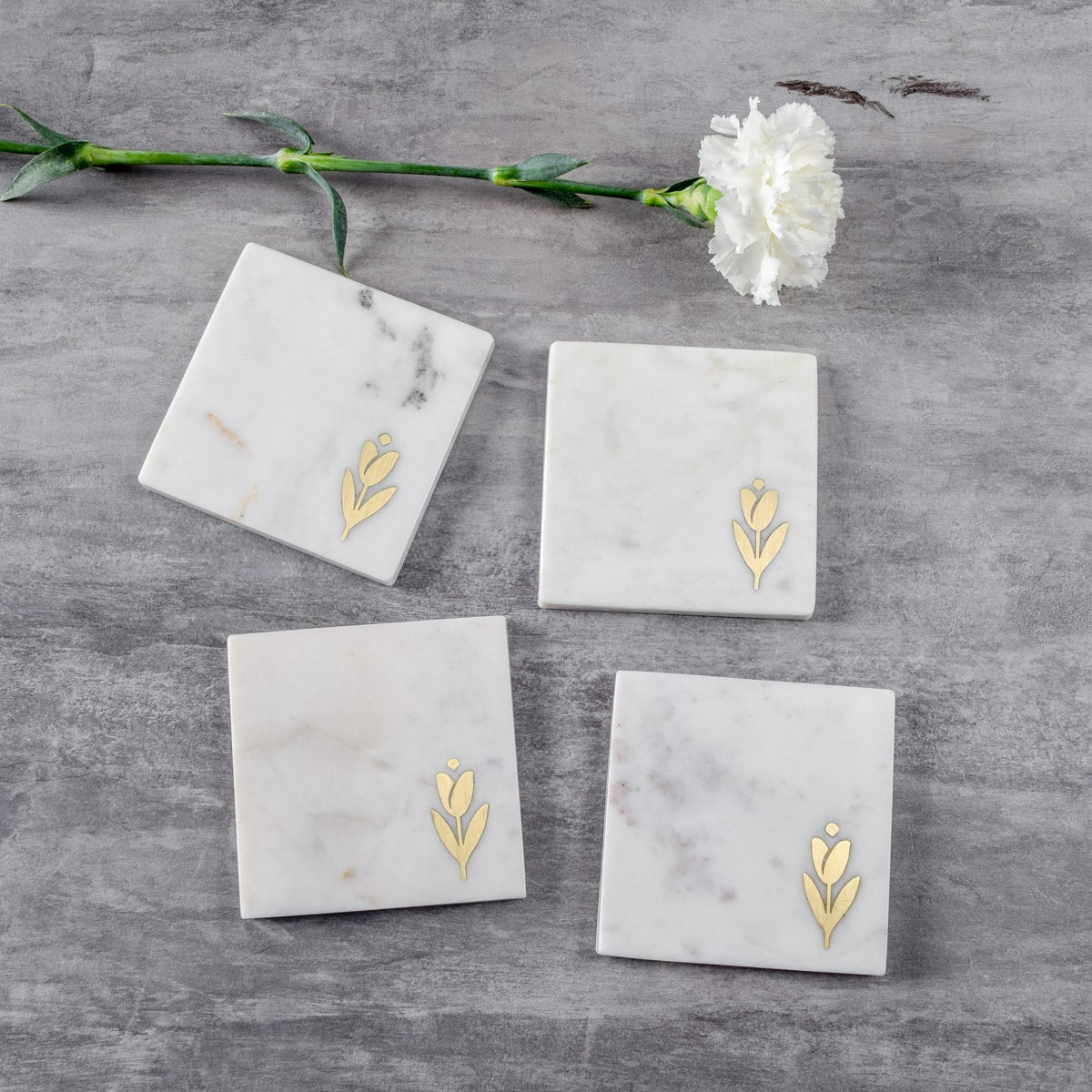 Marble and Brass Tulip Coasters - Set of 4