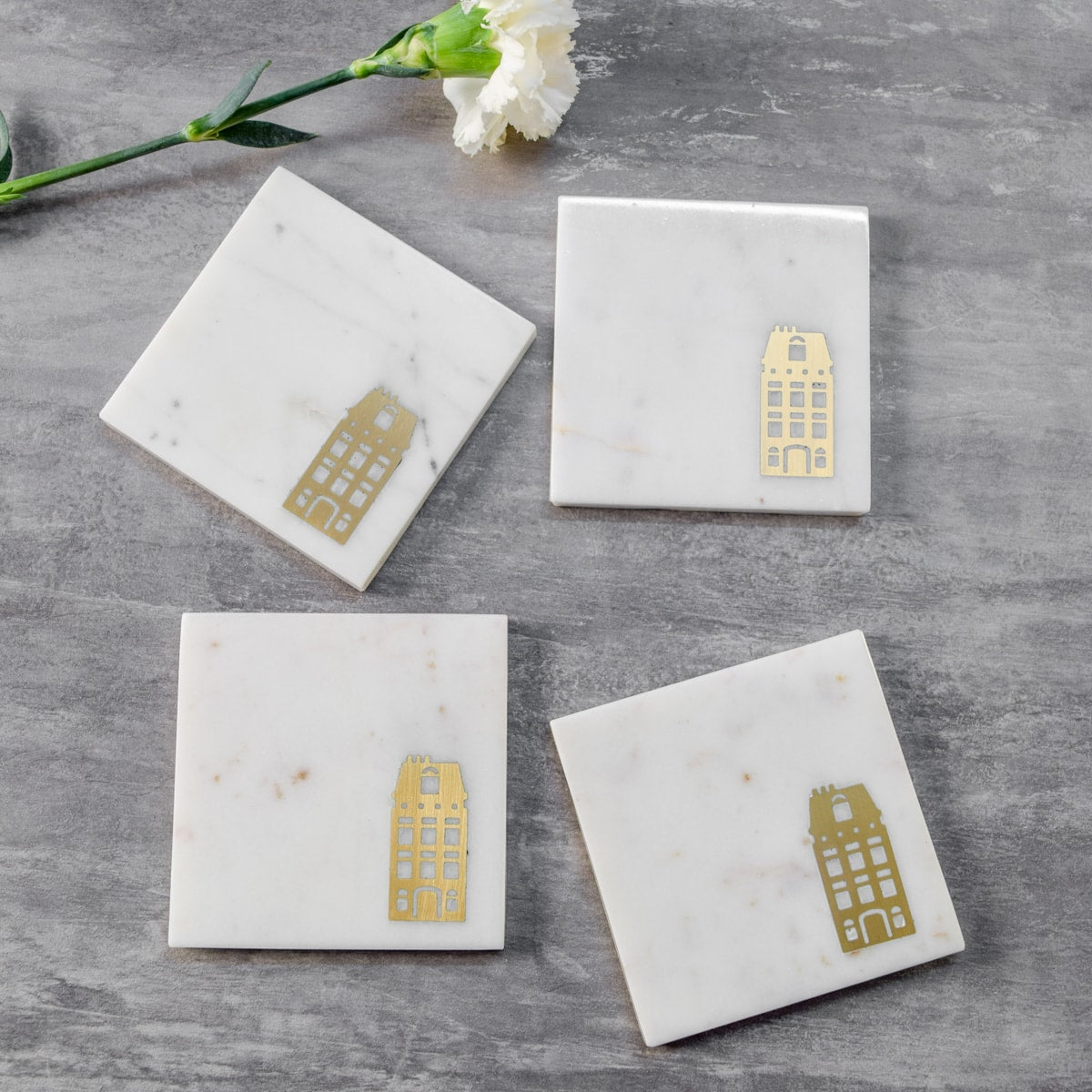 Marble and Brass Dutch Canal House Coasters - Set of 4