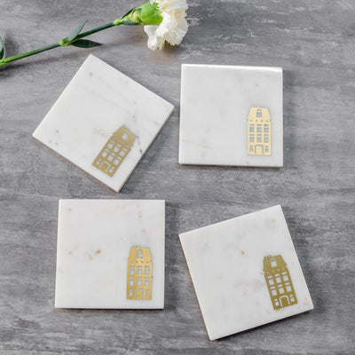 Marble and Brass Dutch Canal House Coasters (Set of 4)