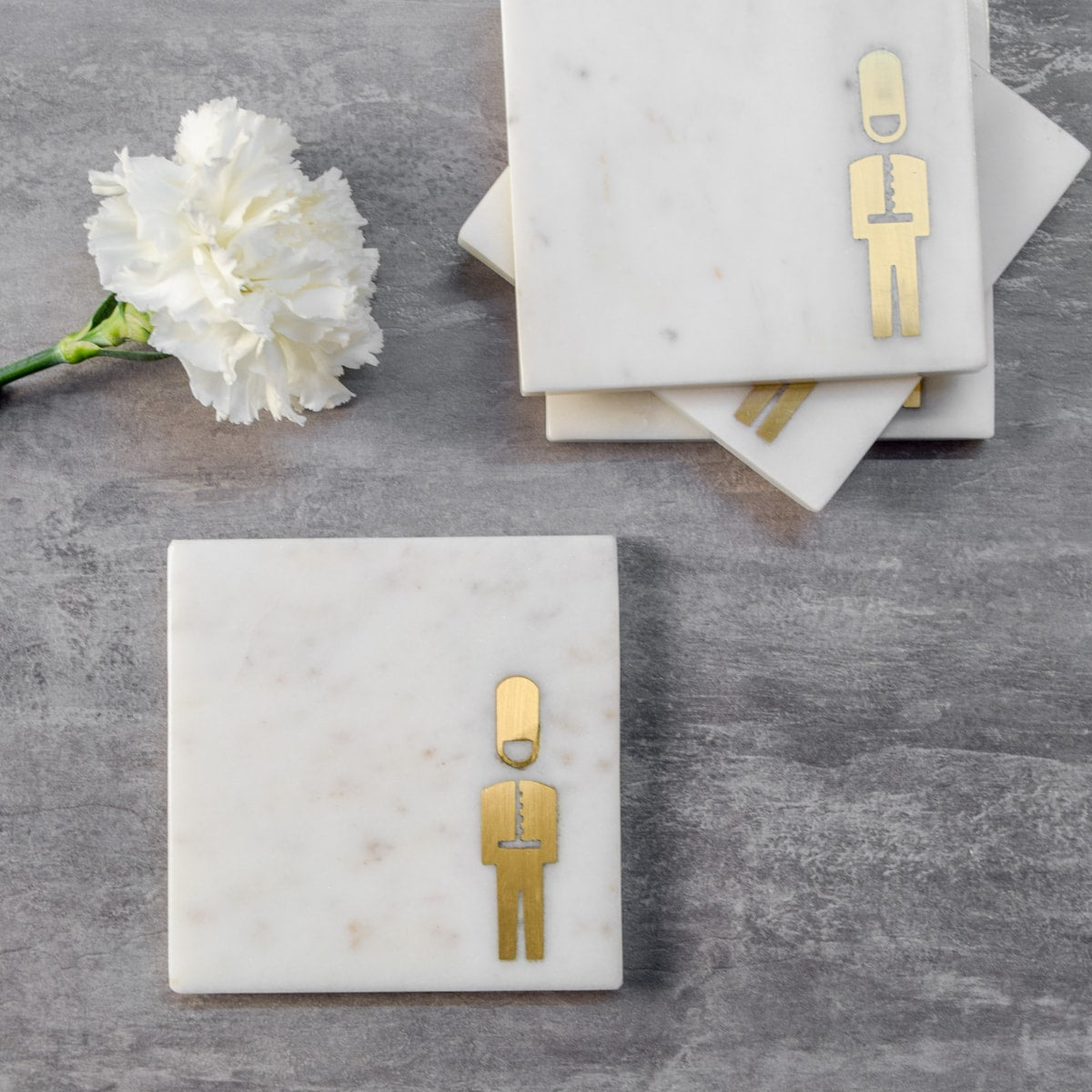 Marble and Brass Buckingham Guard Coasters - Set of 4