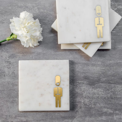 Marble and Brass Buckingham Guard Coasters (Set of 4)