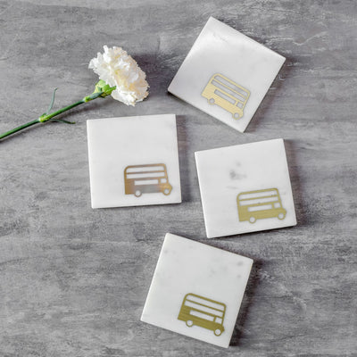 Marble and Brass London Routemaster Bus Coasters - Set of 4