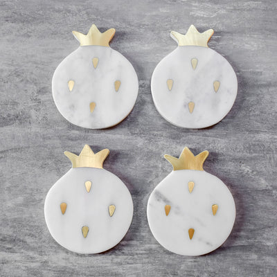 Alyssa Marble and Brass Pomegranate Shaped Coasters - Set of 4