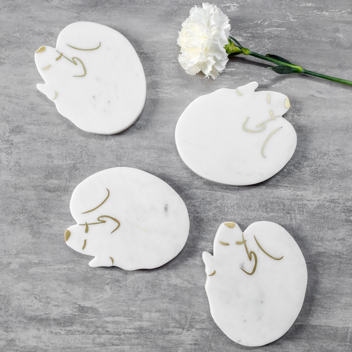 Brooks Marble and Brass Dog Shaped Coasters - Set of 4