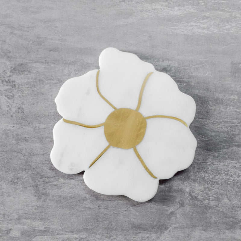 Presley Marble and Brass Flower Shaped Coasters - Set of 4