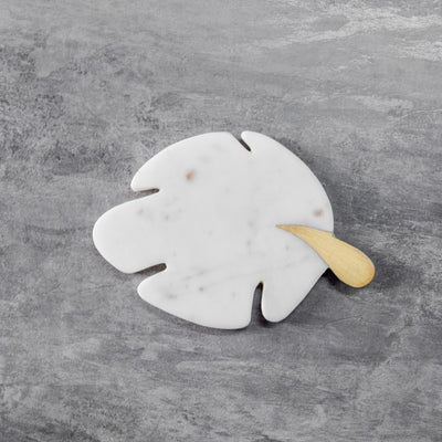Minerva Marble and Brass Palm Leaf Coasters - Set of 4