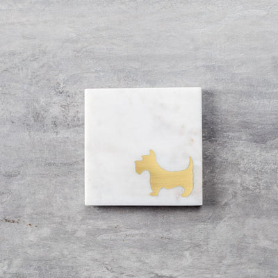 Camden Marble and Brass Scottish Terrier Coasters - Set of 4