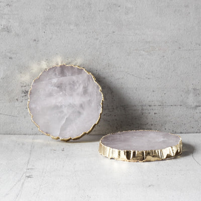 Rose Gold Quartz Coaster with Golden Edging (Set of 2)