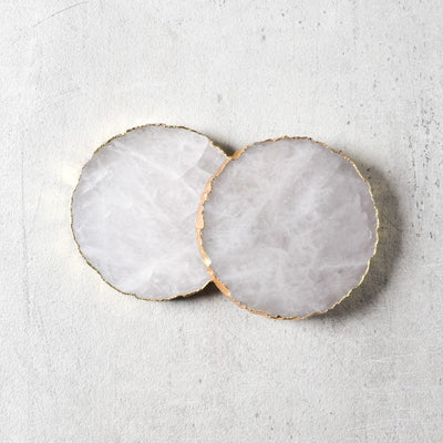 Crystal Quartz Coaster with Golden Edging - Set of 2