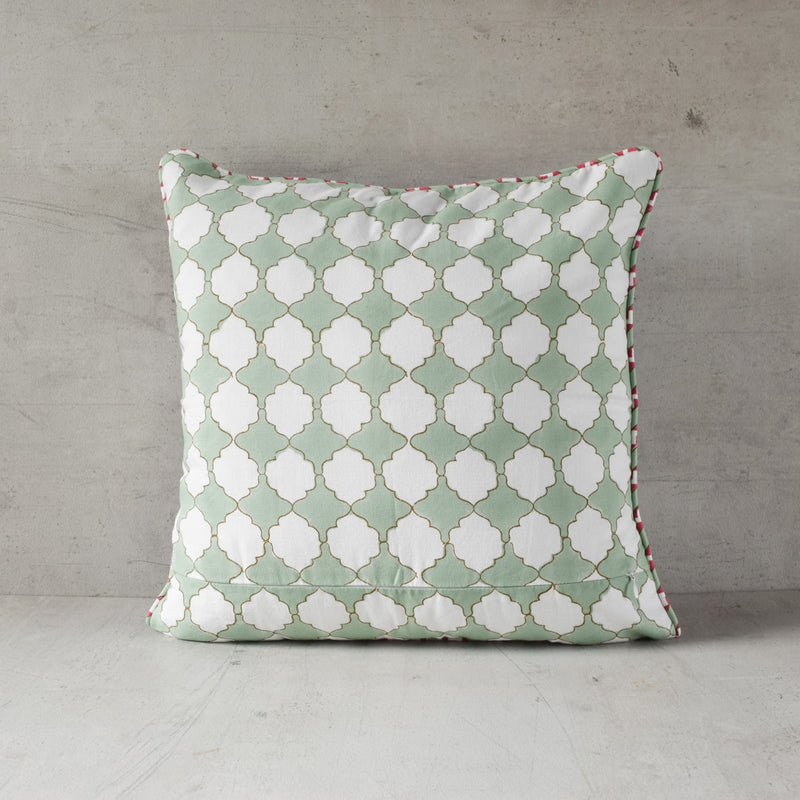 A Trio of Dahlias Block Print Cushion Cover