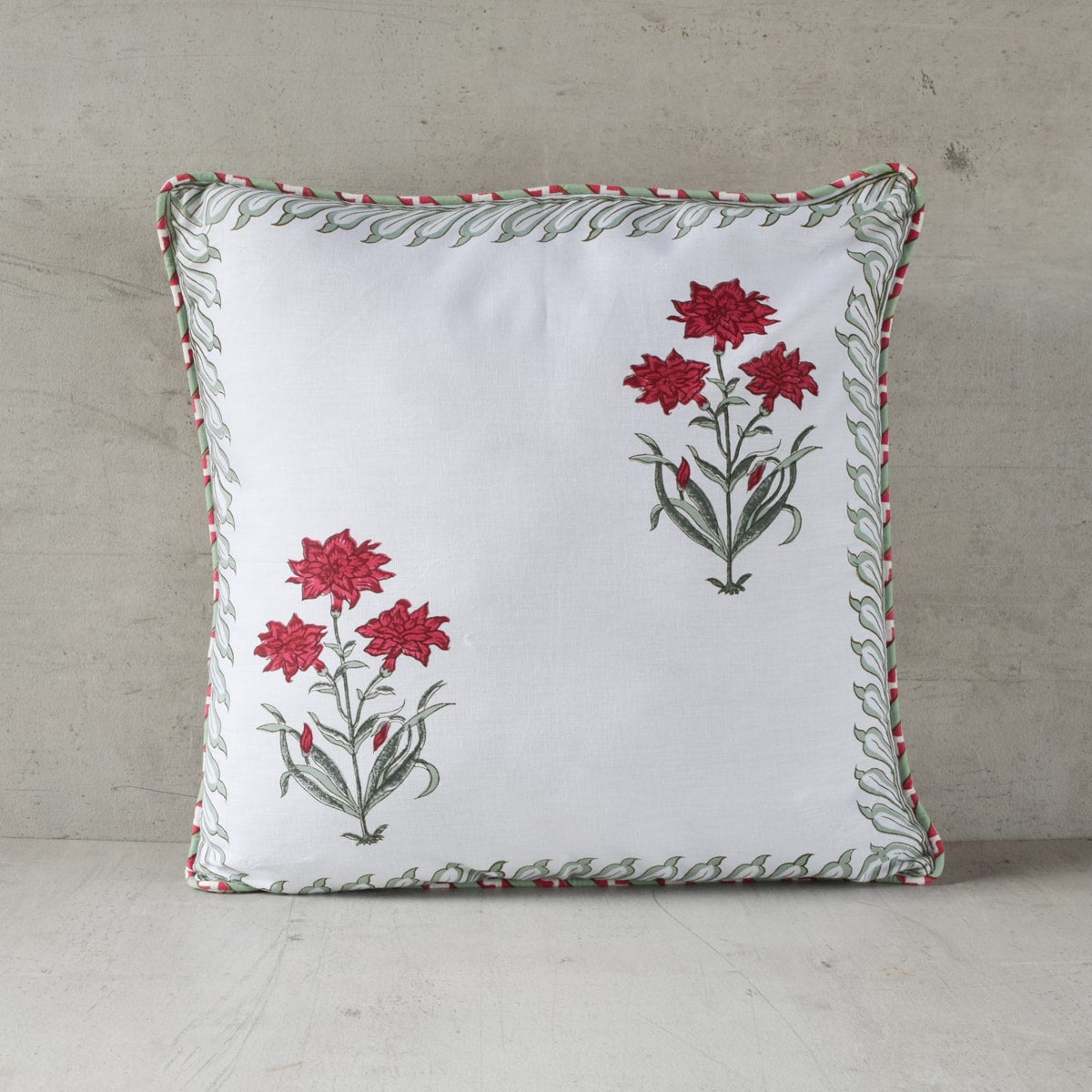 Daffodil Hand Block Print Cushion Cover