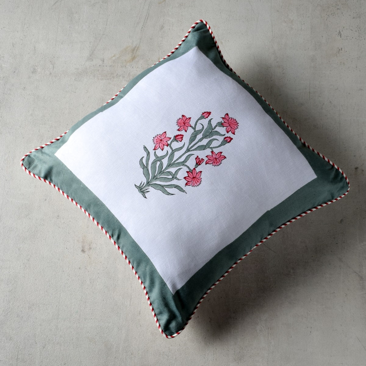Wildflower Hand Block Print Cushion Cover
